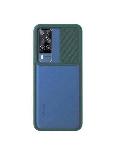 Microsonic Vivo Y31 Kılıf Slide Camera Lens Protection Kırmızı Yeşil
